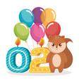 happy birthday card with chipmunk vector image vector image