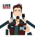 Interview to person on podium vector image vector image