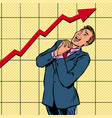 joyful businessman growth chart vector image vector image