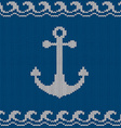 Knitted seamless pattern with anchor vector image vector image
