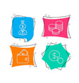 manager wallet and tips icons buy currency sign vector image vector image