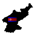 map of north korea with flag vector image
