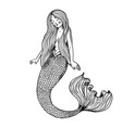 mermaid fabulous creature engraving vector image