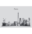 Paris city skyline silhouette in grayscale vector image
