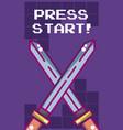 press start videogame banner vector image