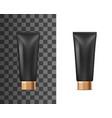 realistic black plastic tube cosmetic cream vector image vector image