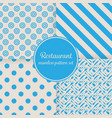 restaurant or bistro theme blue stripes dots vector image vector image