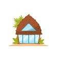 romantic tropic house with straw roof beach vector image vector image