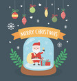 santa in crystal ball hanging balls celebration vector image vector image