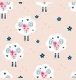 seamless pattern with cute sheep and flowers vector image vector image
