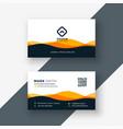stylish orange wavy shape business card design vector image vector image