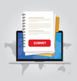 submit document online via laptop with red button vector image vector image