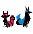 super cat and super dog silhouettes vector image vector image