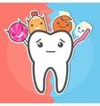 Sweets versus hygiene dental concept vector image vector image