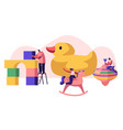tiny characters playing with different playthings vector image