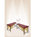 Two Retro Marimba on Brown Stage Background vector image vector image