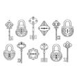 Vintage key keyhole and lock set vector image vector image