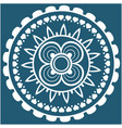 white mini heart mandala blue background im vector image vector image