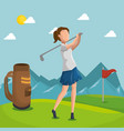 woman golfer playing in golf club vector image