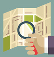 Human hands holding Magnifier and searching street vector image