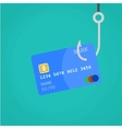 Data Phishing credit or debit card on fishing hook vector image