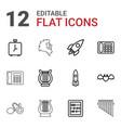 12 retro icons vector image vector image