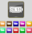 alarm clock icon sign Set with eleven colored vector image vector image