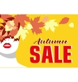 Autumn sale Banner Fashion girl Colored leaves vector image