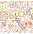 bakery top view background hand drawn vector image vector image