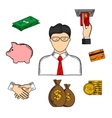 Banker and financial color sketched icons vector image vector image