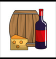 barrel bottle of wine and cheese icon vector image vector image