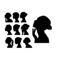 beauty woman face silhouettes vector image