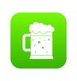 beer mug icon digital green vector image vector image