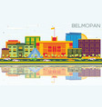 belmopan skyline with color buildings blue sky vector image vector image