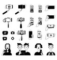 black pictures of people making selfie and various vector image vector image