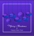 blue merry christmas balls on dark blue background vector image