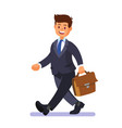 businessman walking happy with briefcase vector image