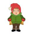 character man carols singer at a winter clothes vector image vector image