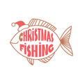 christmas fishing card background with text and vector image