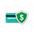 credit on debit card with shield vector image vector image