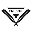 cricket logo simple style vector image vector image