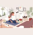 cute guy or boy sitting cross-legged in his room vector image vector image