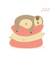 cute nice sloth resting on pillows vector image