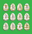 easter white eggs set with gold decor vector image vector image