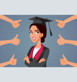 female student receiving appreciation vector image