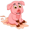 funny pig cartoon sitting in mud puddle vector image vector image