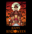 halloween greeting card with a haunted house vector image