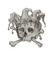 hand drawing skull a joker in a comic cap vector image vector image