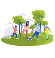 happy cartoon family playing football together vector image vector image