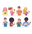 happy people eating pie and cakes set sweet-tooth vector image